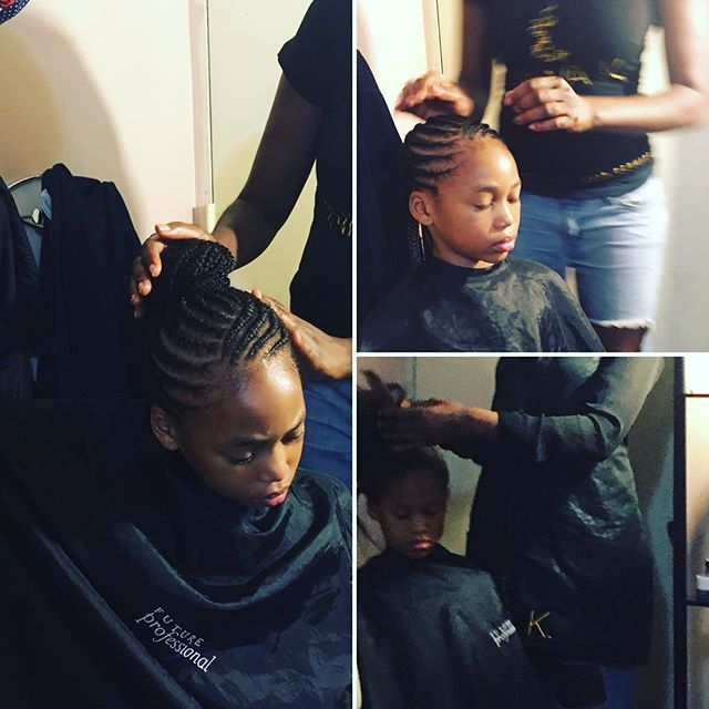 Leah, 10 yrs old, ballet dancer, needed cornrows to be put in a bun for a performance # $80 kids cornrows book now www.niwahair.com