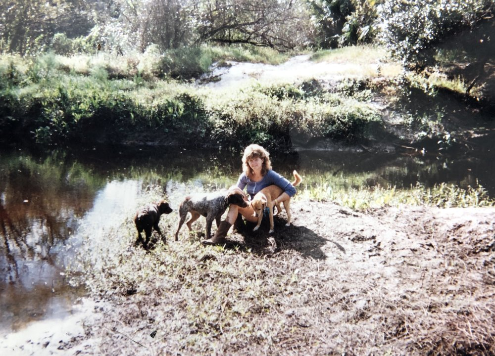 MY MOM BY HORSE CREEK CIRCA 1996-1998.