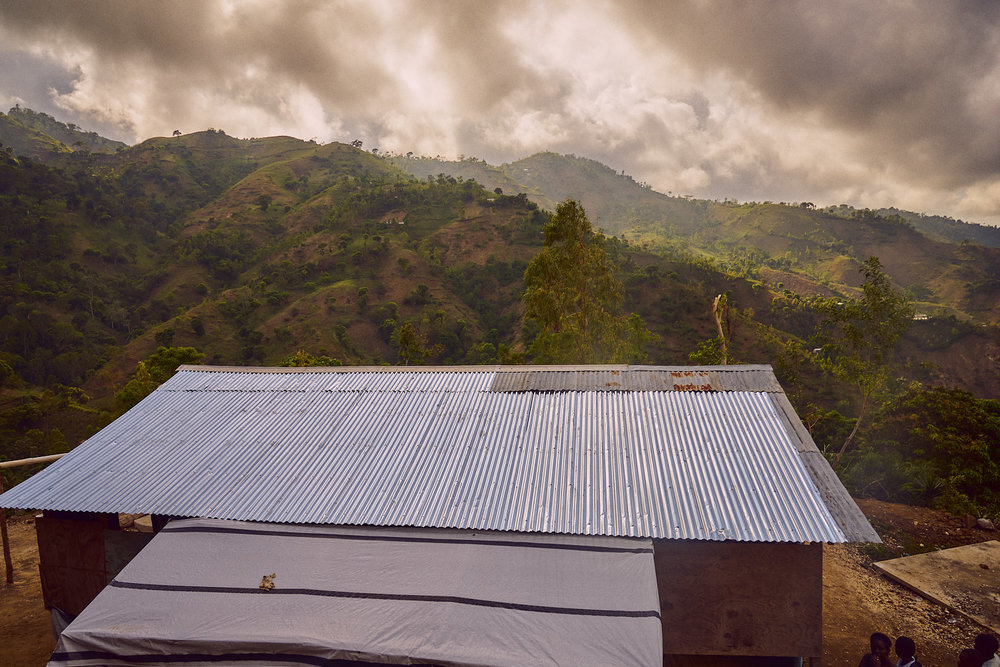 A view of Bethel School overlooking the hillside community. Image taken at the end of the day.