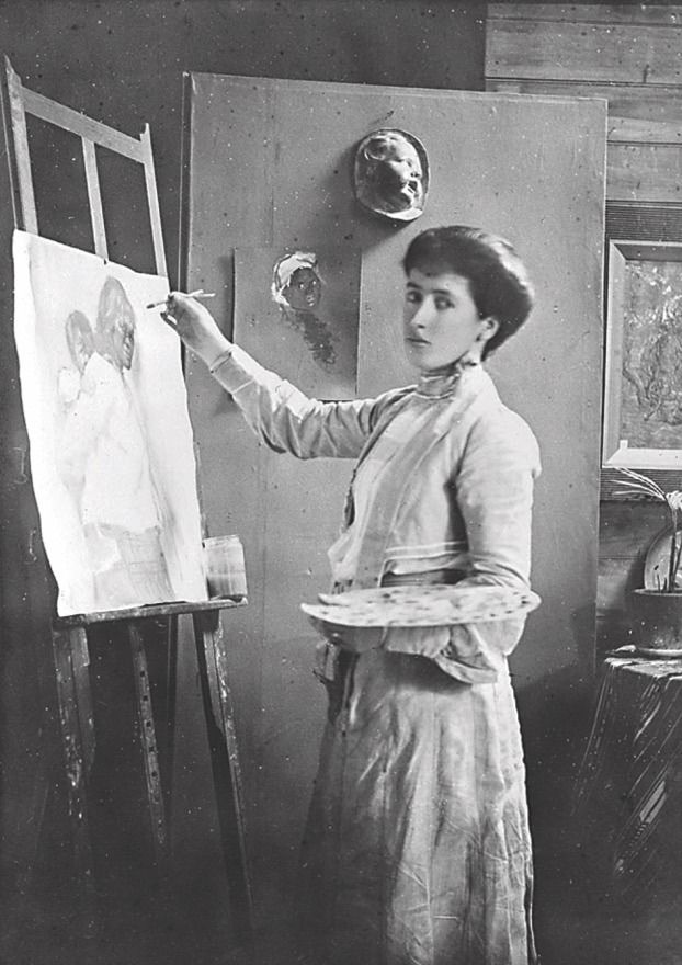 'Frances Hodgkins in her studio, Bowen St, Wellington (vintage albumen print) c 1905.'    Courtesy & copyright of the  Field Collection Trust  2016.