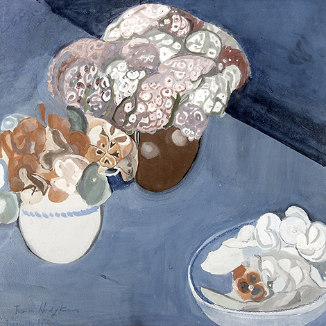 Hodgkins - Three Bowls of Flowers