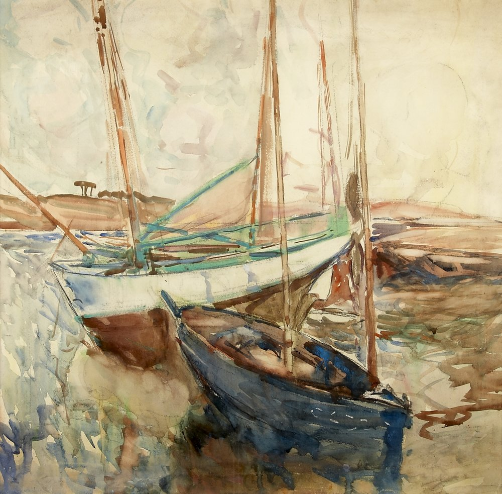 Tunny Boats in the Harbour, Concarneau c.1910   Black chalk and watercolour on paper, 59 x 60 cm