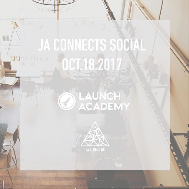Join us October 18 @launch_academy for our first event of the year! Meet with JA Alumni and get some wise words from Launch Academy's team on entrepreneurship and resilience. See you there! #vancouverevents #university  #entrepreneur #businesstips #JAalumniBC