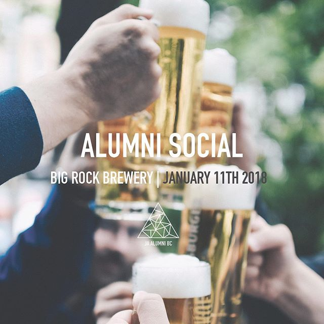 Come grab a beer (or two) and make networking a New Years resolution! Join us Jan 11th @bigrockurbanyvr (Olympic Village). Plus, learn about all the volunteer and mentor positions open with JABC and the Alumni Executive team! Link in bio 🍻 (19+ event - valid ID is required for entry) #networking #alumnisocial #brewerytour