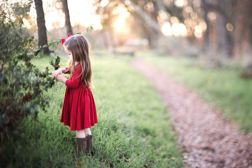 A freelensed picture of a girl looking at a plant in Roseville, California.