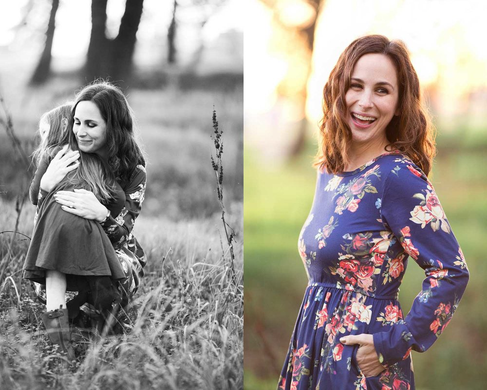 A diptych of a mother embracing her daughter and the mother in Roseville, California.
