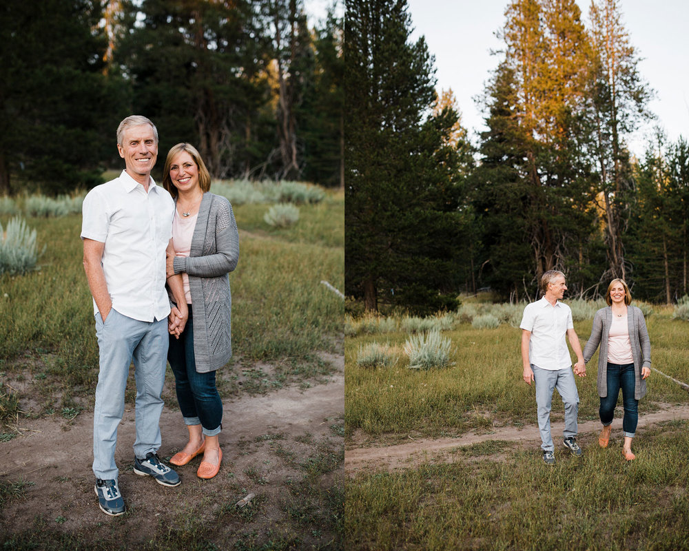 A couple enjoys each other's company during their extended family photo session in Placer County, California.