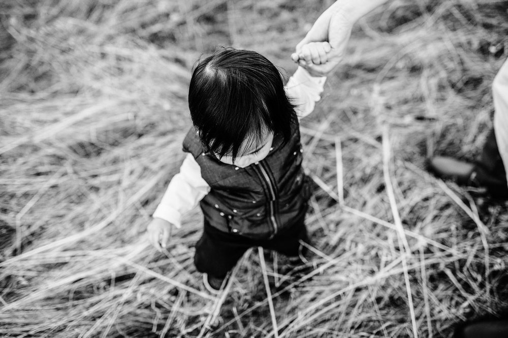 A baby boy holds his mother's hand while trying to walk during a family mini session with Amy Wright Photography based out of Sacramento, California.