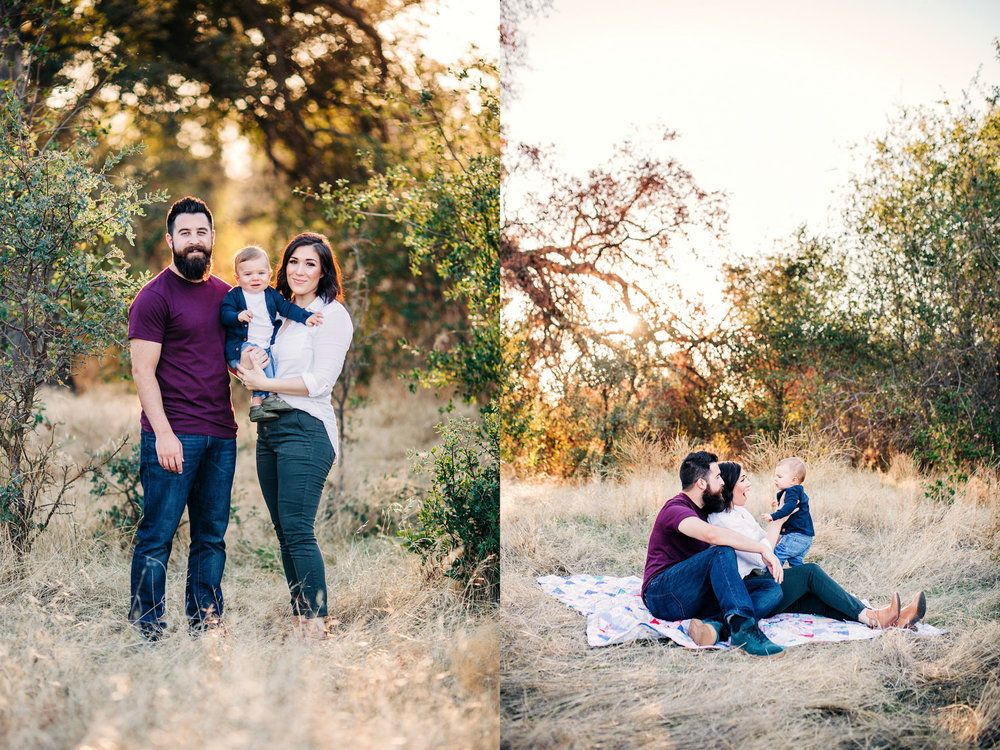 A family of three poses together for family pictures with Amy Wright Photography in Sacramento, California.
