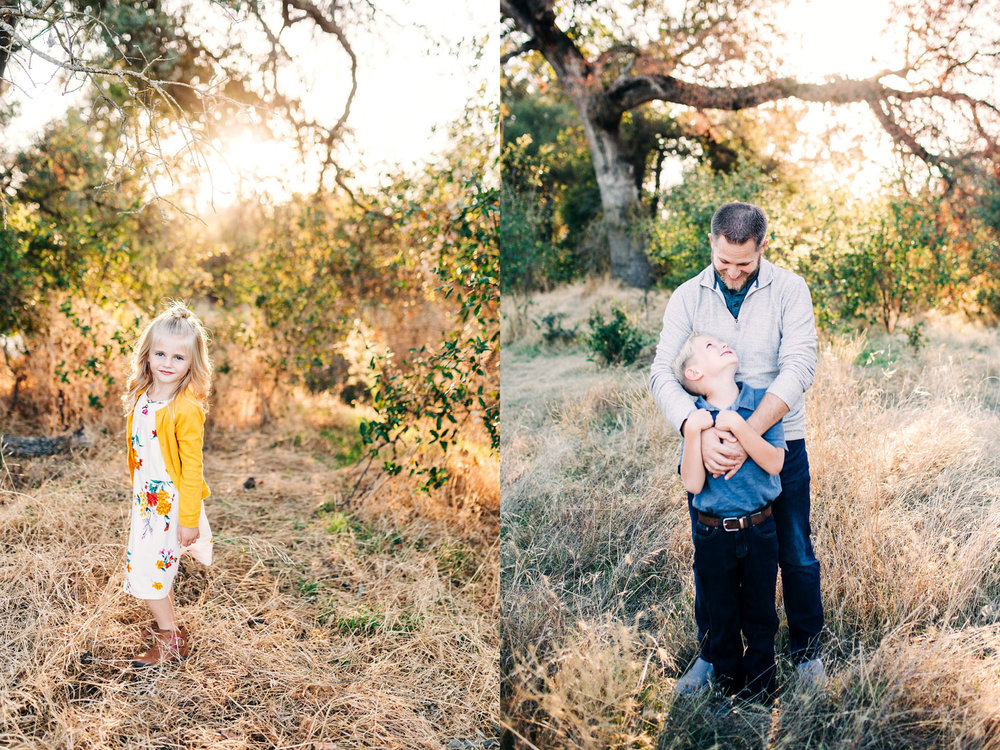 A diptych of a girl and a father and son portraits during a lifestyle family photo session in Sacramento, California with Amy Wright Photography.