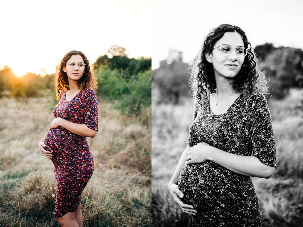 A stunning mother is cradling her pregnant belly during a maternity photo session with Amy Wright Photography in Roseville, California.