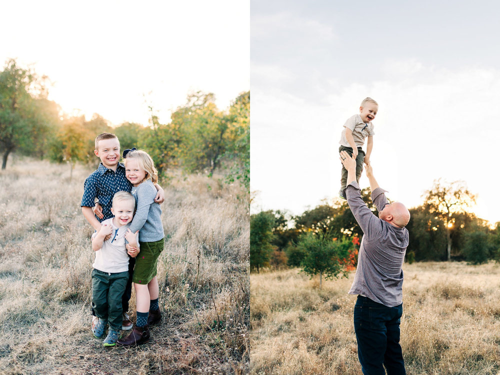 Three siblings put their arms around each other and a dad tosses his youngest in the air during a family photo session with Amy Wright in Roseville, California.