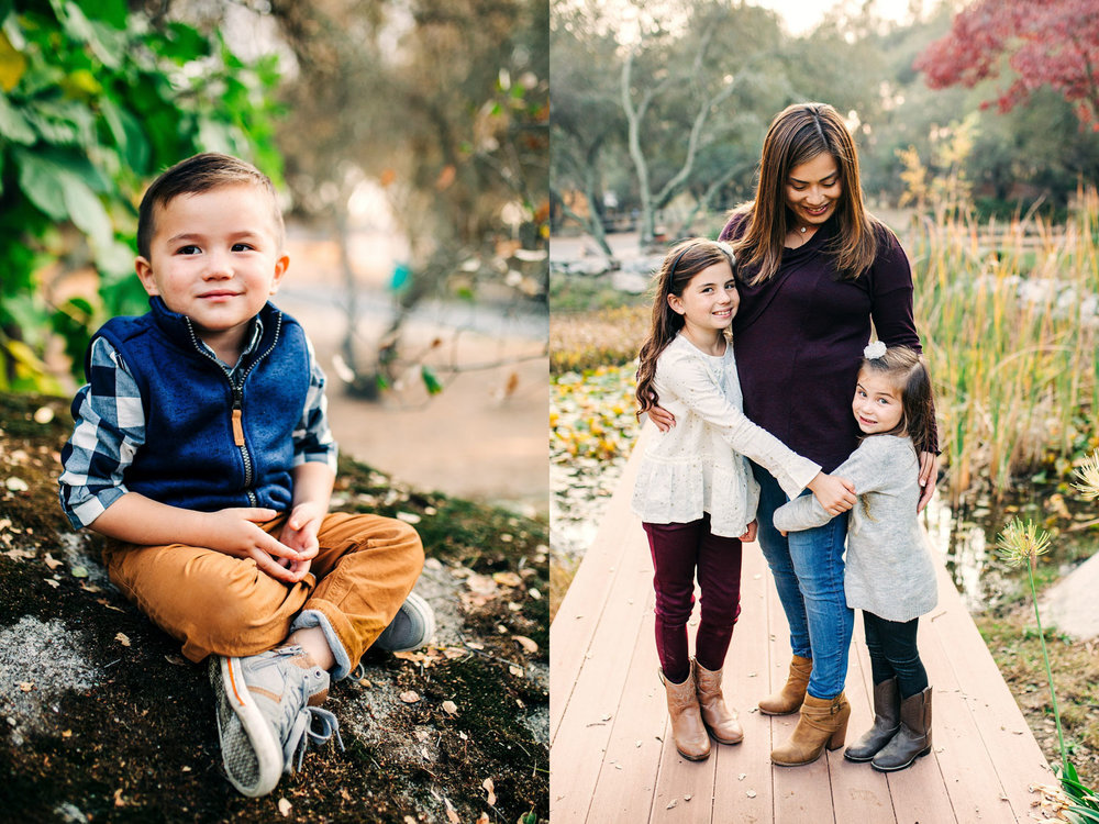 A toddler boy and a mother and her daughters are seen in these photos taken during a lifestyle family photo session with Amy Wright Photography in Roseville, California.