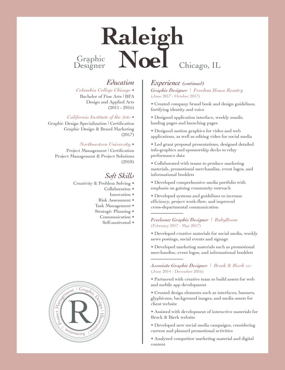 Resume Raleigh Noel