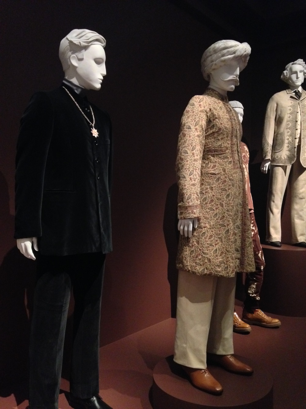 Left to right  Sherwani Coat late 19th century  Gilber Feruch, Nehru Suit, 1968