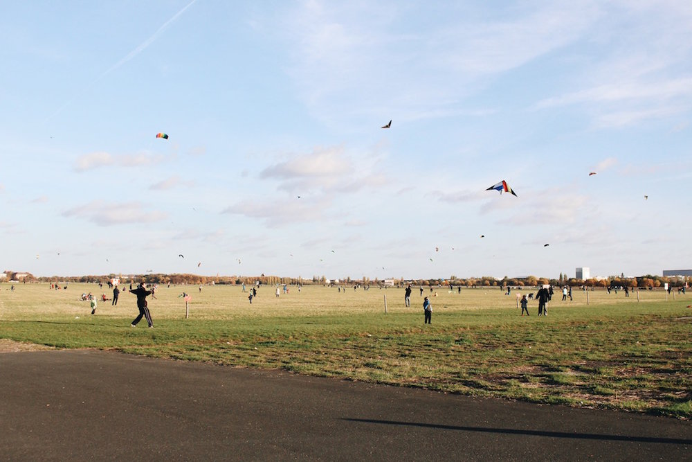 Kites flying at Tempelhofer Feld