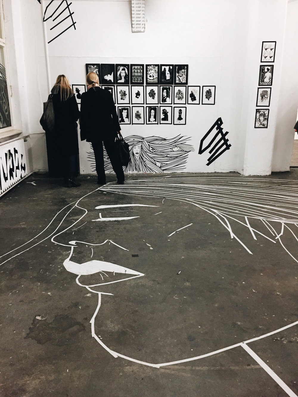 Tape art exhibit at Neurotitan