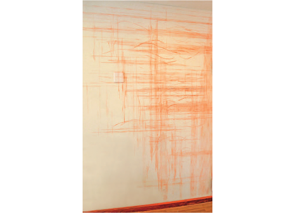 A Fruitless Interim , 2012, Construction grade orange chalk and snapline tool, dimensions variable