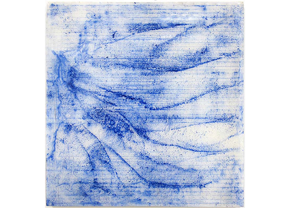 Historically Bound Irises , 2012, Resin, construction grade blue chalk and snapeline tool on panel, 12 x 10 1/2 inches