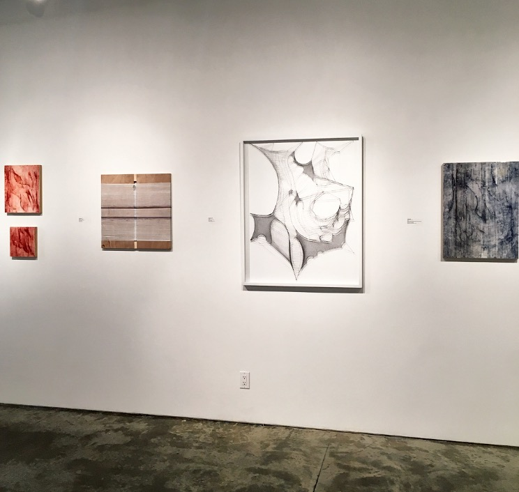 Left to right: Jillian Clark - Comforting Upholstery Panels, Forgotton Painted Necessities, Dissatisfied Unions, Gabrielle Duggan - Abstract 3 and Jillian Clark - Stolen Bedroom Sets