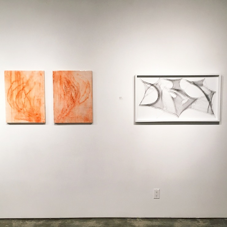 Left to right: Jillian Clark - Yosmite's Machinery and Threads Under Imposter Twins (diptych) and Gabrielle Duggan - Abstract 2