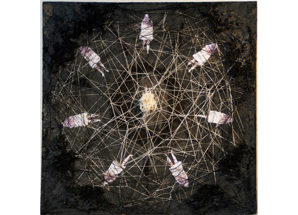 Spokenfor/shroudedstance  , 2014, Tar, paper, wool, cotton, teeth, wire, blood, and ash, 38 x 38 inches