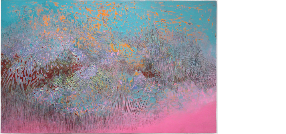 Wild Fire, 2014, Acrylic on panel, 48 x 77 inches