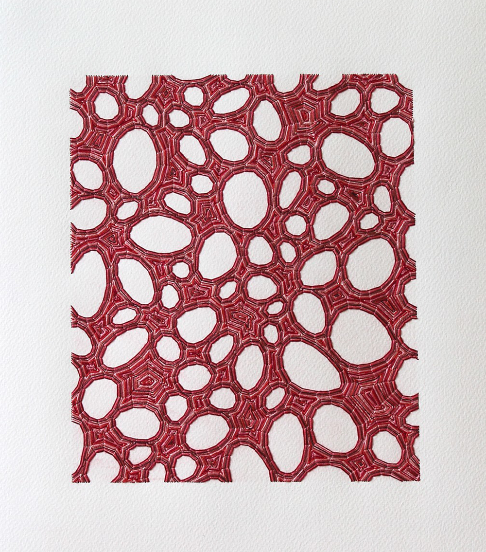 Untitled 56 , 2013, Thread, paper, and colored pencil 13 3/4 x 12 1/4 inches