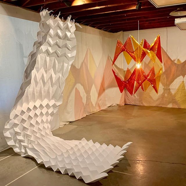 "DESERT X / WHEN? / WHERE?  See my installations ""Prismatic Sunset"" and ""The Whale"" at @makervillestudio in the mountains above Palm Desert.  A Parallel Project of Desert X in collaboration with @textileartsla, the ""Looming Shelter"" exhibition is a group show of artists specializing in a variety of fiber arts.  See the listing of select open weekends (starting next weekend) and plan a trip to visit paired with visits to the other Desert X installations!"