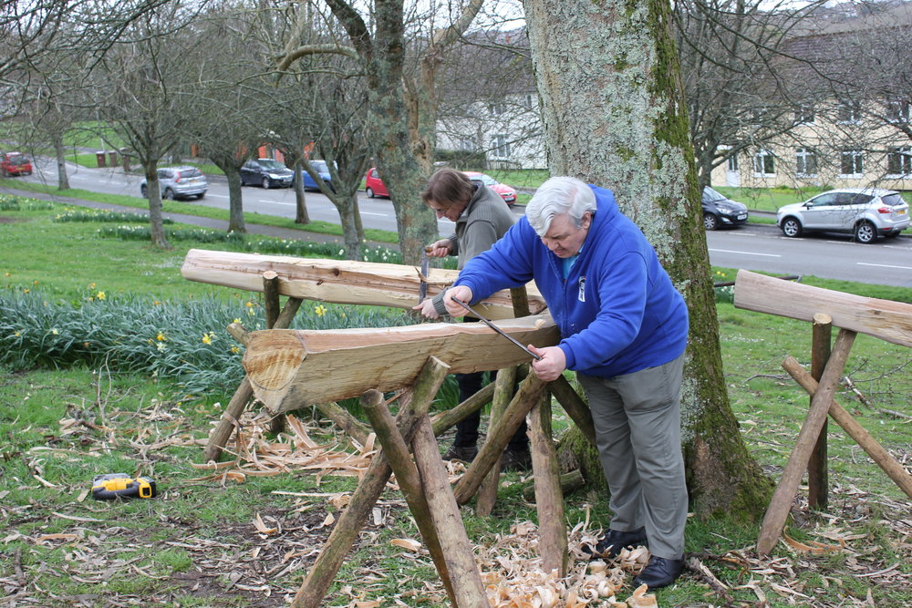 initial shaping in the urban woodland workshop.