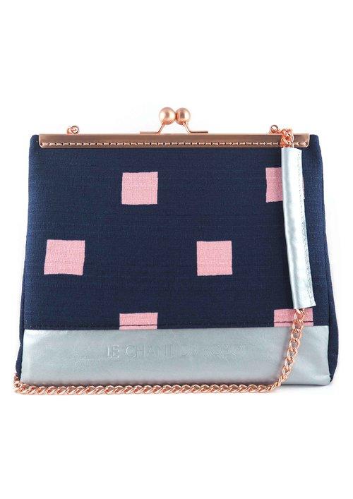 Sac à main Colvert en tissu carrés roses et cuir bleu nacré — LE ... c829c96925ee
