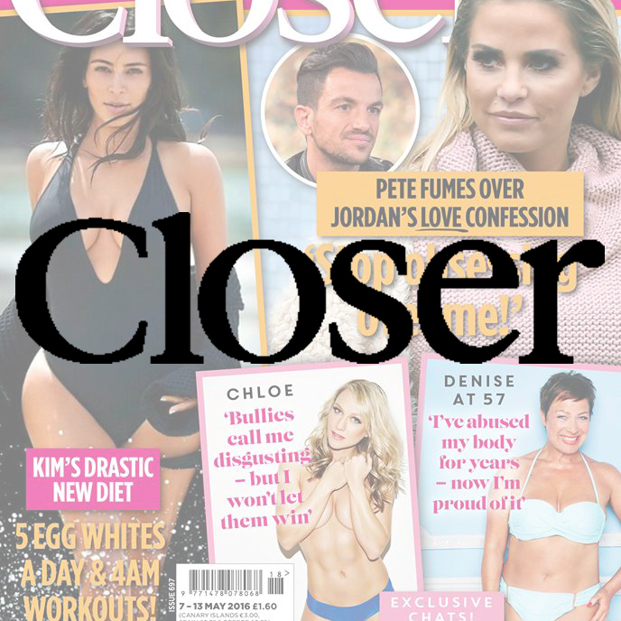 Closer magazine Combining the gossip, glamour and gloss of the celebrity world with reality, Closer gets to the heart of the story and brings you the depth and truth behind the headlines. Demographic: 51% ABC1 - 97% Female - Av. age 33
