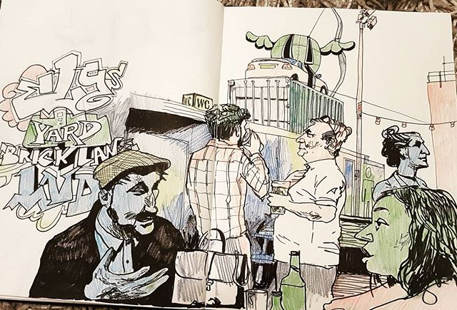 #artwork #artist #creative #urbanart #urbansketch #urbansketchers #sketchbook #myart #sketches #draws #doodle #doodler #bricklane #london #bar