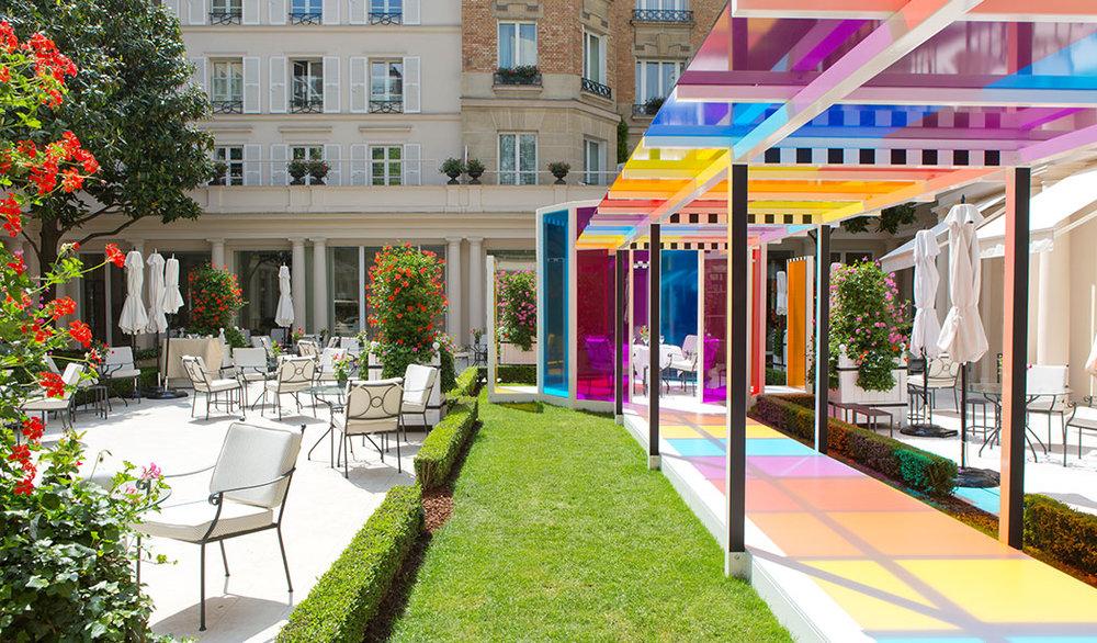 Daniel Buren created a site-specific installation for Le Bristol Paris, titled 'Une Pause Colorée'