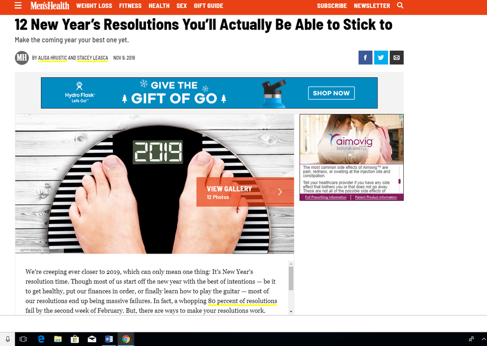 By the way, I'm…gratified?…to see that  Men's Health  magazine is also giving its readers a chance to pre-emptively feel bad about themselves in 2019 by reminding them that scales are a thing. Equality, amirite?