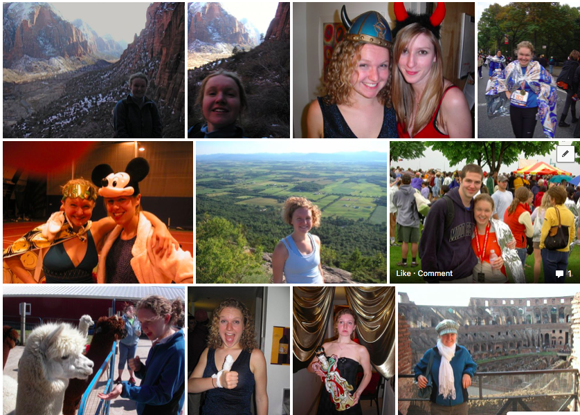 My 2006-2008 Facebook profile pictures. I do like that bottom left one with the alpaca.