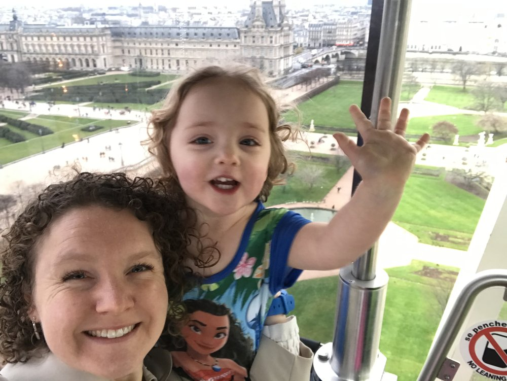 Of course this trip was hard work, and not every moment was a cute selfie with the Louvre in the background. But even just a week later, all the little annoyances are fading like the little teeny people down there walking the Tuileries, and all I remember is big toothy grins and your Moana dress.
