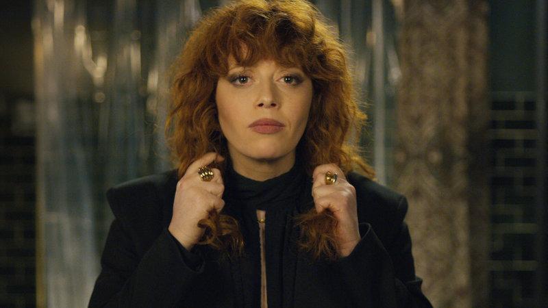 Natasha Lyonne in Netflix's  Russian Doll . Her hair. Her eyes. Her high-collared, shoulder-padded wonders.