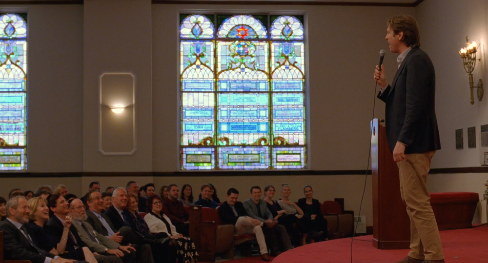 """""""So…are all of you saving a seat for Elijah?"""" The synagogue audience clearly loves Pete, and the viewers at home breathe a little sigh of relief."""