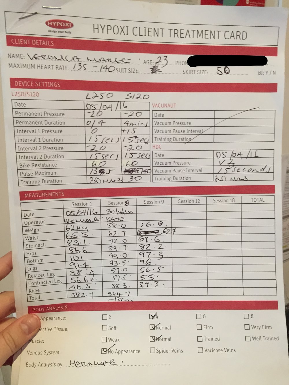 My before and after measurements. My legs gained a bit of muscle from my non Hypoxi days routine 9km walks.