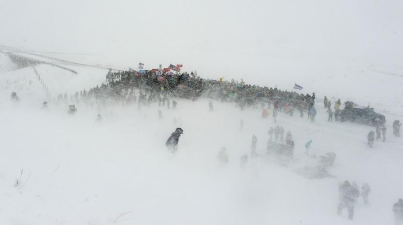 Last winter's brave protestors at Cannonball, North Dakota.