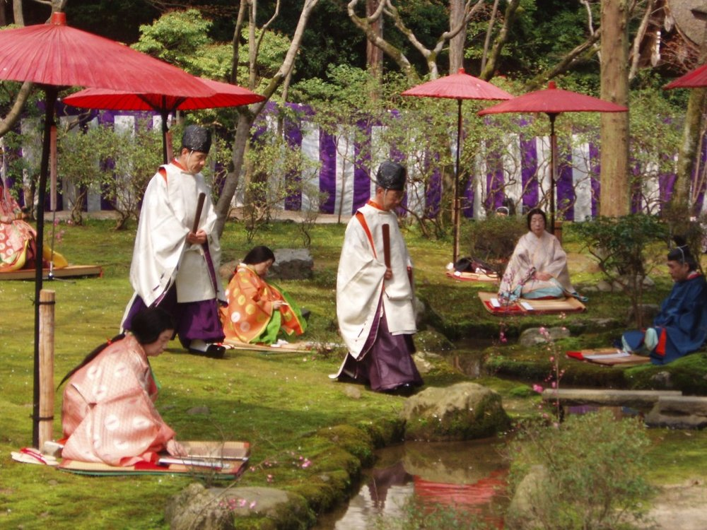 Shinto priests and prayer garden.