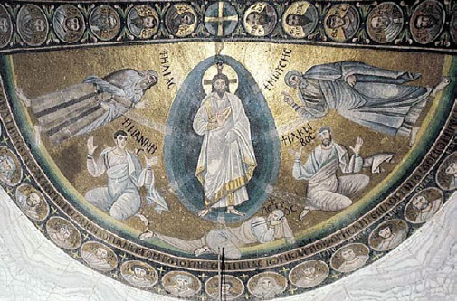 One of the earliest such images is this Apse mosaic of the Transfiguration, St. Catherine's Monastery, Mount Sinai, c. 550-565.