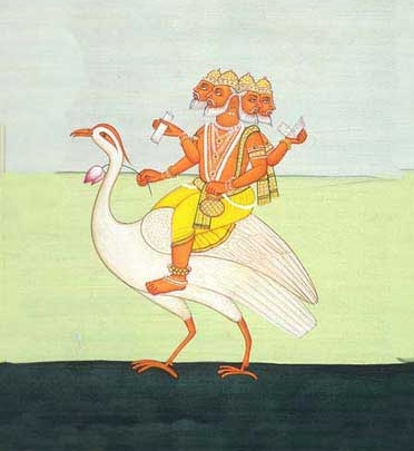Lord Brahma   rides a swan. From Art Legend of India.