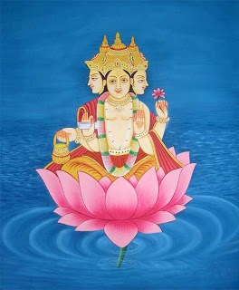 Lord Brahma is creator of the universe, the first part of Hinduism's divine trinity, a four-armed, four-headed deity, created from Vishnu's navel. See a  simple presentation  on Hindu gods.