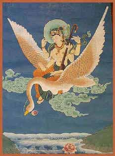 Lord Brahma's wife,   Sarasvati   ,  rides a swan. She is the personification of India's most sacred ancient river. Goddess of music, writing, and divine inspiration, she first appears in India's oldest literature.