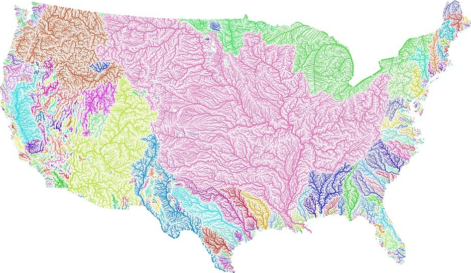 Map of continental US's rivers and    river basins   . More    here   ,    here    and    here   .