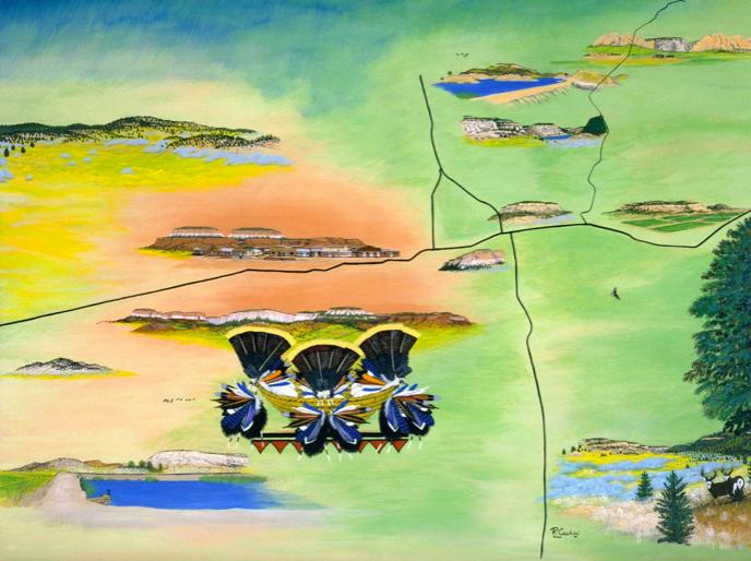 Ronnie Cachini,  Ho'n A :wan Dehwa :we  (Our Land) , 2006.