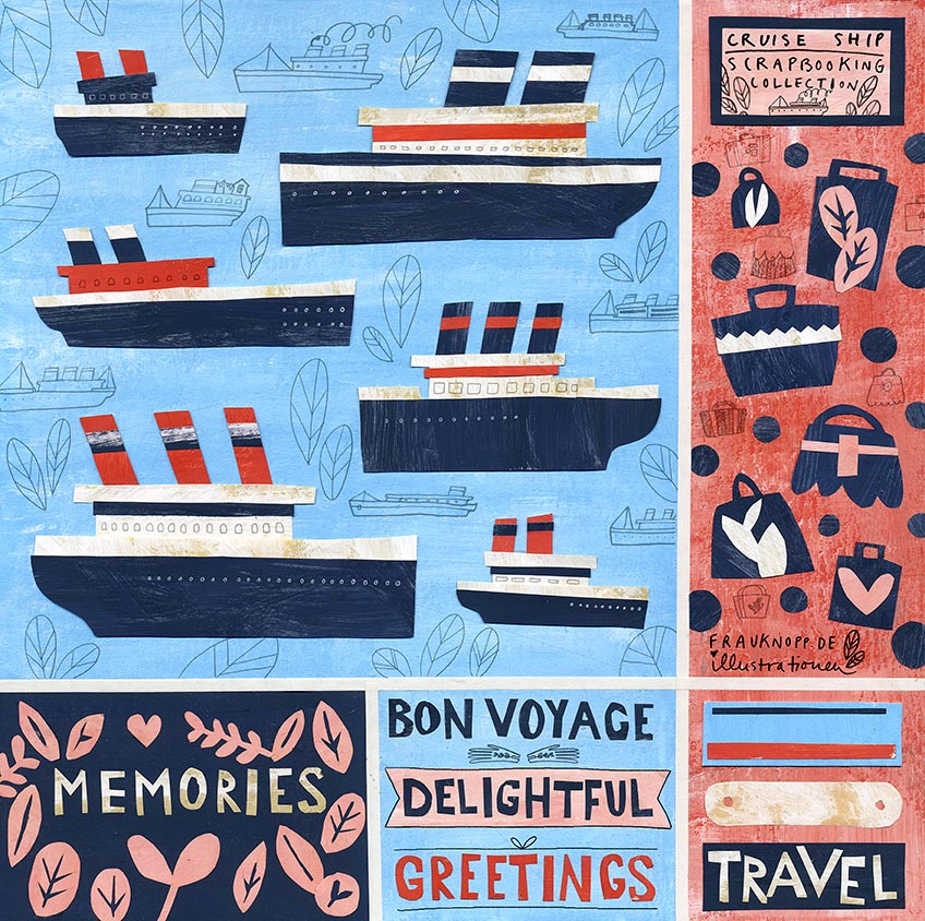 Cruise ships inspired scrapbooking collection