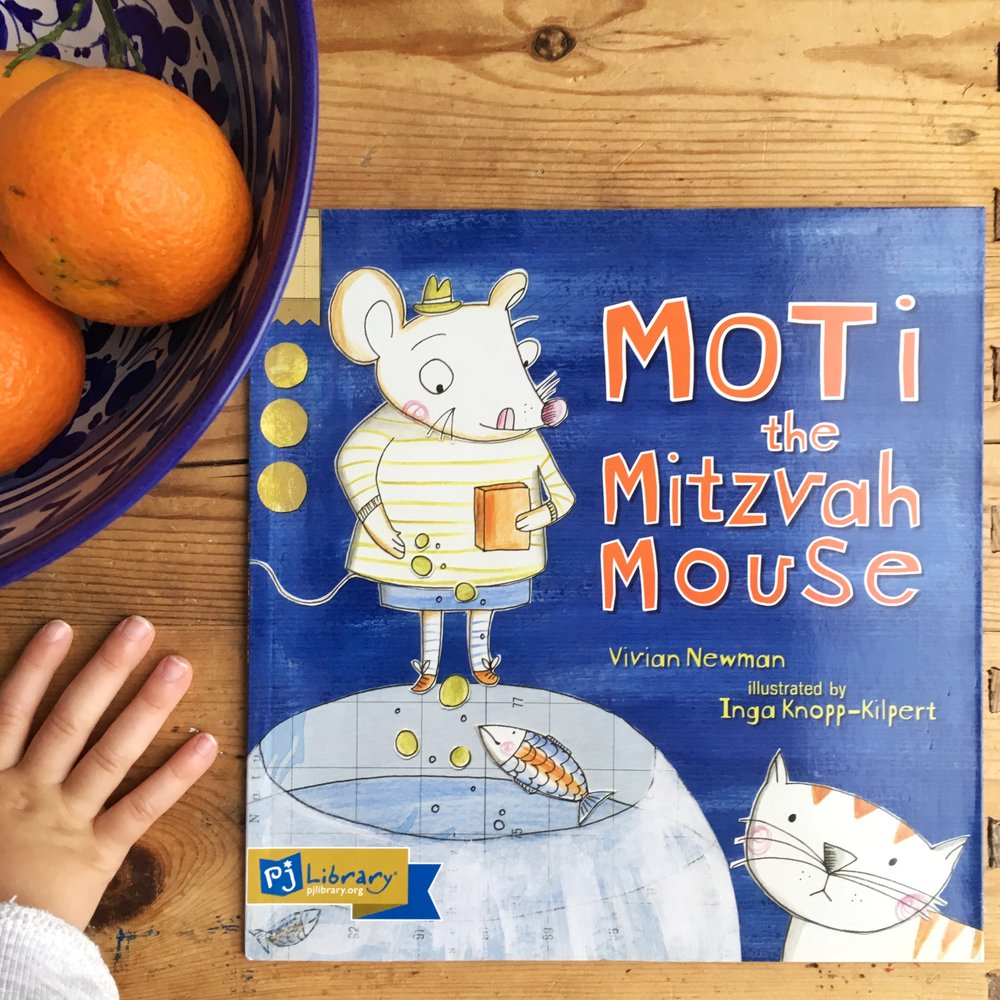 Paperback version of Moti the Mitzvah Mouse send by PJ Library